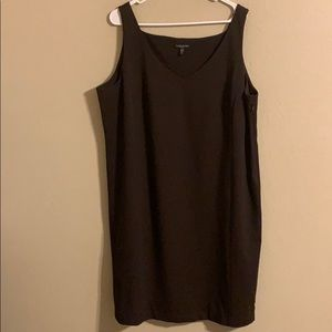 Eileen Fisher brown strapless dress 1X